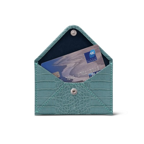 Flat card holder - Turquoise - Crocodile style calfskin