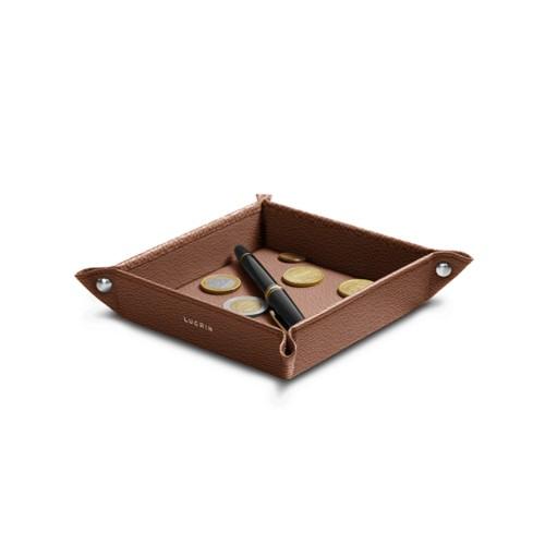 Petit vide poche carré (16 x 16 x 3 cm) - Cognac - Cuir de Chèvre