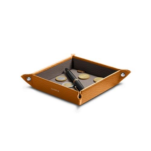 Kleiner quadratischer Taschenleerer (16 x16 x 3 cm) - Safrangelb-Dunkeltaupe - Ziegenleder