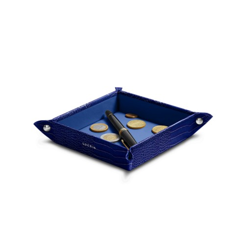 Small square catchall (4.7 x 4.7 x 1.2 inches) - Royal Blue - Crocodile style calfskin
