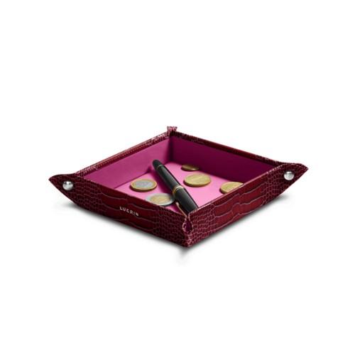 Small square catchall (4.7 x 4.7 x 1.2 inches) - Fuchsia  - Crocodile style calfskin