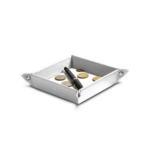 Petit vide poche carré (16 x 16 x 3 cm) - Blanc - Cuir Grainé