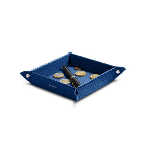 Petit vide poche carré (16 x 16 x 3 cm) - Bleu Roi - Cuir Grainé