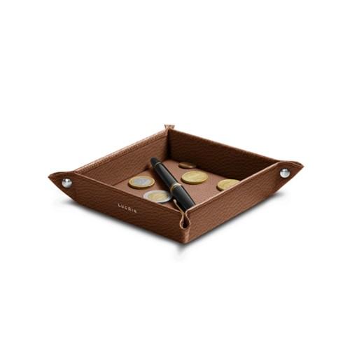 Petit vide poche carré (16 x 16 x 3 cm) - Cognac - Cuir Grainé