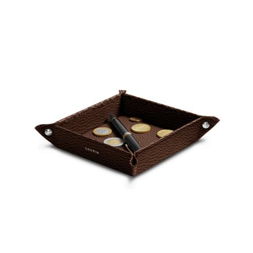 Petit vide poche carré (16 x 16 x 3 cm) - Marron Foncé - Cuir Grainé