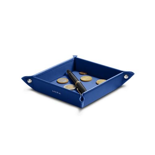 Petit vide poche carré (16 x 16 x 3 cm) - Bleu Roi - Cuir Lisse