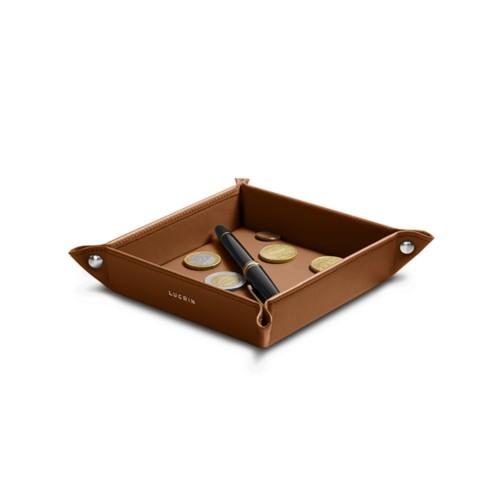 Petit vide poche carré (16 x 16 x 3 cm) - Cognac - Cuir Lisse