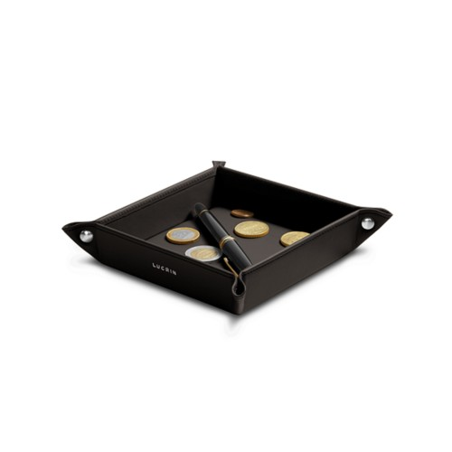 Petit vide poche carré (16 x 16 x 3 cm) - Marron Foncé - Cuir Lisse