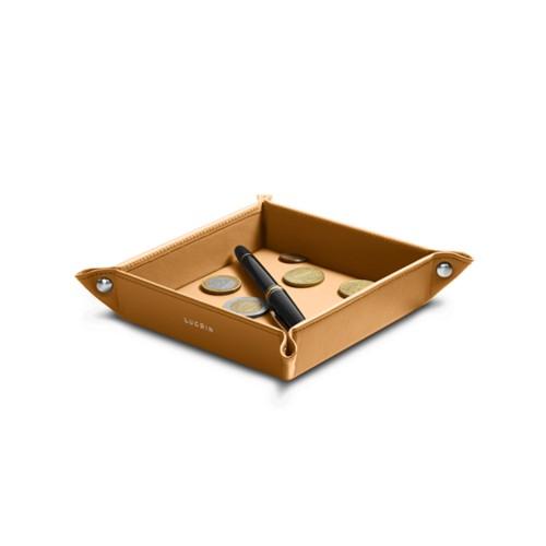 Petit vide poche carré (16 x 16 x 3 cm) - Naturel - Cuir Lisse