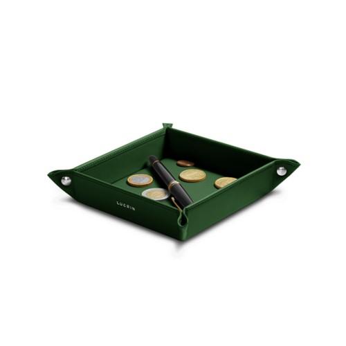 Petit vide poche carré (16 x 16 x 3 cm) - Vert Foncé - Cuir Lisse