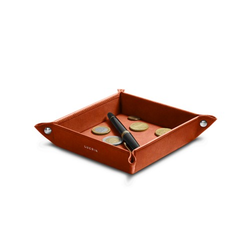 Petit vide poche carré (16 x 16 x 3 cm) - Cognac - Cuir végétal