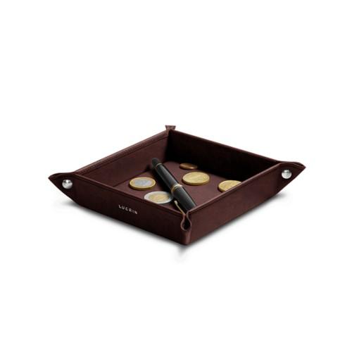 Petit vide poche carré (16 x 16 x 3 cm) - Marron Foncé - Cuir végétal