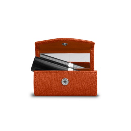 Lipstick holder - Orange - Goat Leather