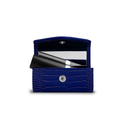 Lipstick Holder - Royal Blue - Crocodile style calfskin