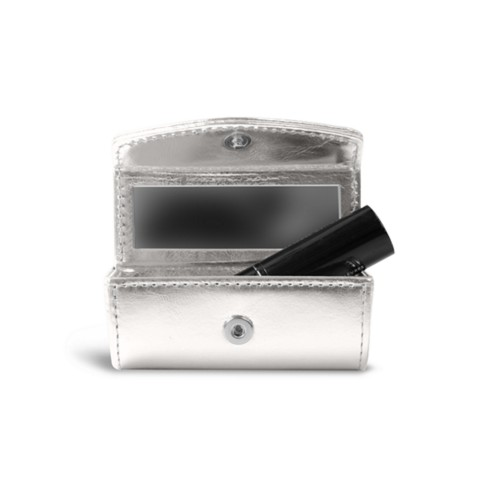 Lipstick holder - Silver - Metallic Leather