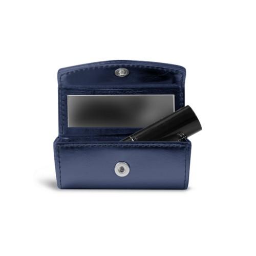 Lipstick holder - Navy Blue - Metallic Leather