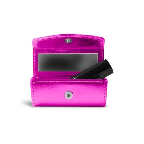 Lipstick holder - Fuchsia  - Metallic Leather