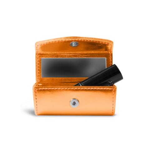 Lipstick holder - Orange - Metallic Leather