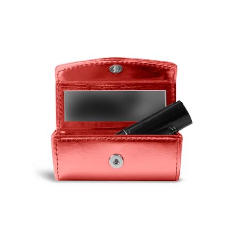 Lipstick holder - Red - Metallic Leather