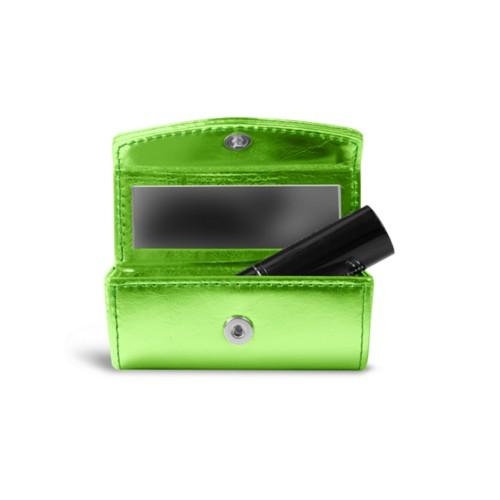 Lipstick holder - Light Green - Metallic Leather
