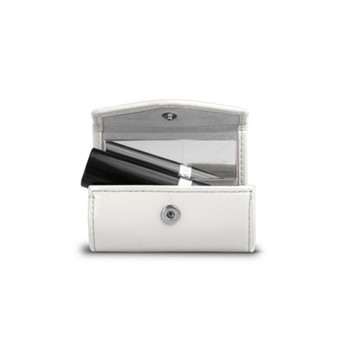 Lipstick Holder - White - Smooth Leather