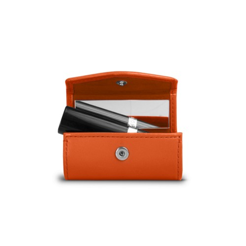 Lipstick holder - Orange - Smooth Leather
