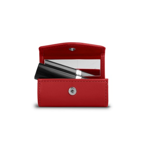 Lipstick holder - Red - Smooth Leather