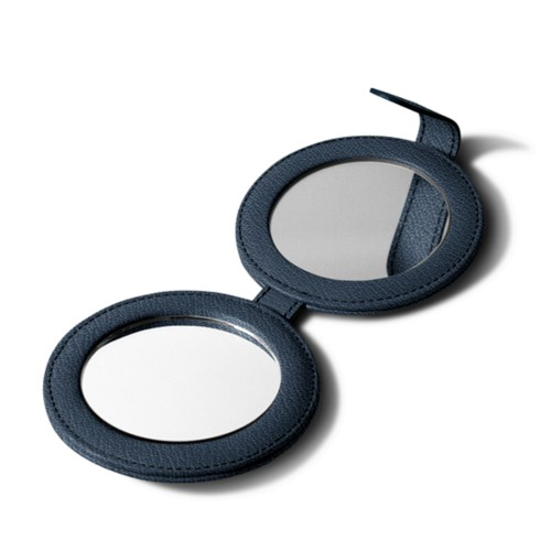Round Double Compact Mirror - Navy Blue - Goat Leather