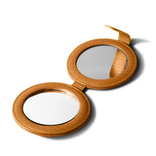 Round Double Compact Mirror - Saffron - Goat Leather