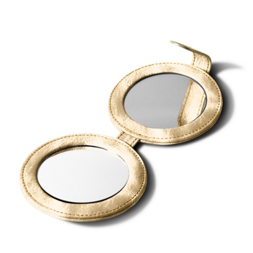 Round Double Compact Mirror - Golden - Metallic Leather