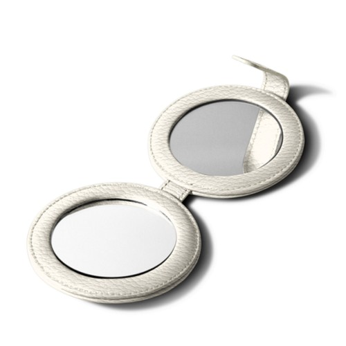 Round dual mirror - Off-White - Granulated Leather