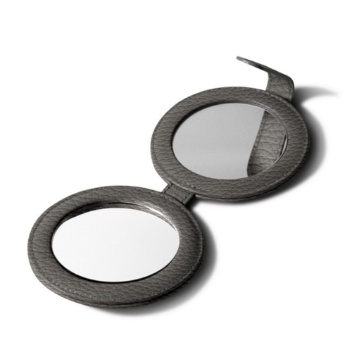 Round Double Compact Mirror - Mouse-Grey - Granulated Leather