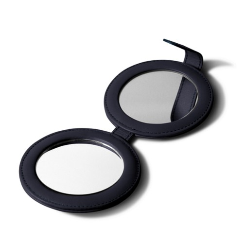Round Double Compact Mirror - Navy Blue - Smooth Leather