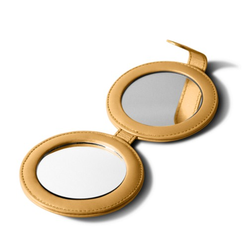 Round dual mirror - Mustard Yellow - Smooth Leather