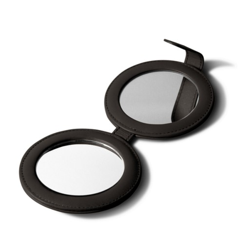 Round DoubleCompact Mirror - Brown - Smooth Leather