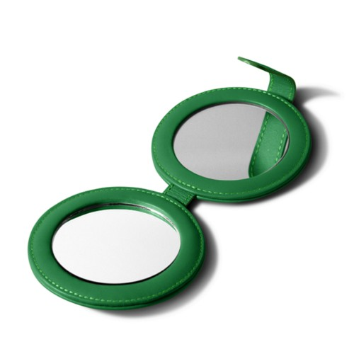 Round DoubleCompact Mirror - Light Green - Smooth Leather