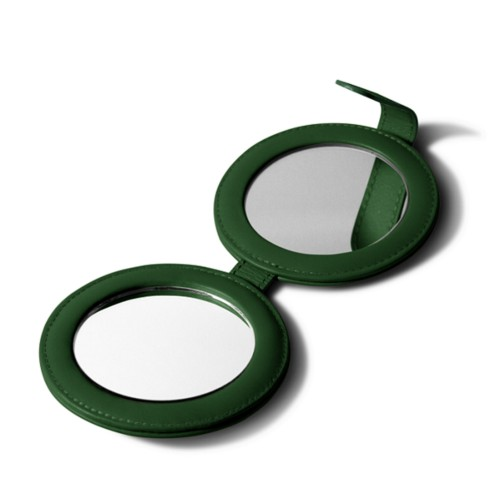 Round dual mirror - Dark Green - Smooth Leather