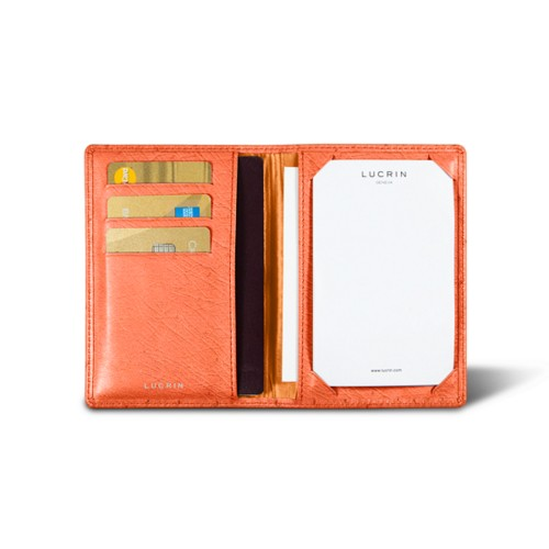 Luxury pocket note pad - Orange - Real Ostrich Leather