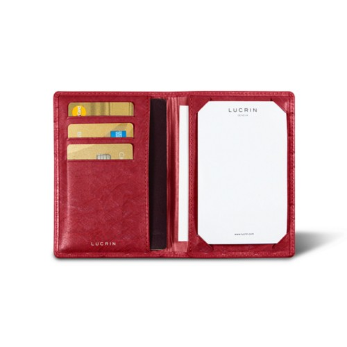 Luxury pocket note pad - Red - Real Ostrich Leather