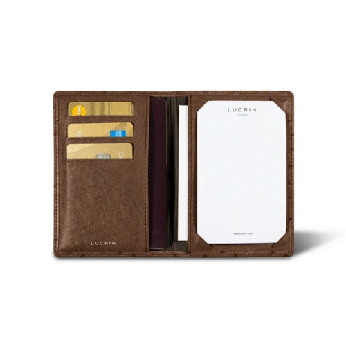 Luxury pocket note pad - Tobacco - Real Ostrich Leather