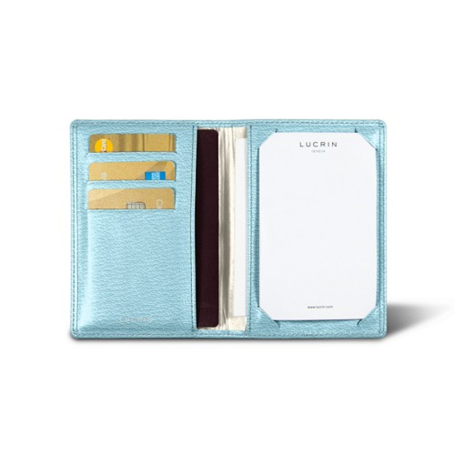 Luxury pocket note pad - Sky Blue - Goat Leather