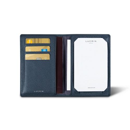 Luxury pocket note pad - Navy Blue - Goat Leather
