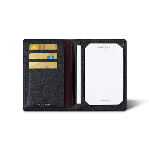 Luxury pocket note pad - Black - Goat Leather