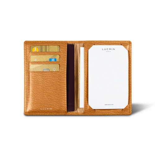 Luxury pocket note pad - Saffron - Goat Leather