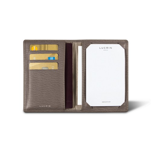 Luxury pocket note pad - Dark Taupe - Goat Leather