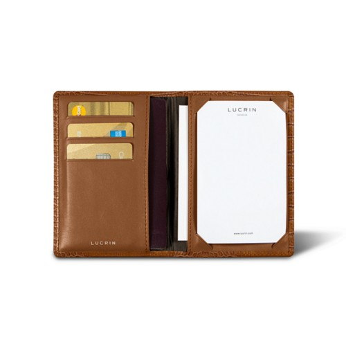 Luxury pocket note pad - Camel - Crocodile style calfskin