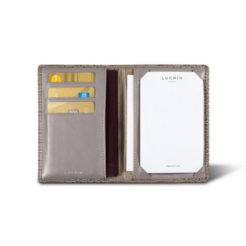 libreta de bolsillo lujo (9,5 x 14 cm) - Taupe Luz - Piel Coco Grabado