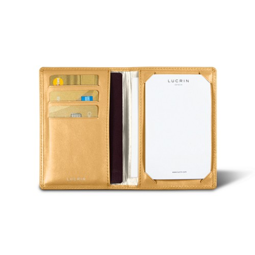 Luxury pocket note pad - Mustard Yellow - Smooth Leather