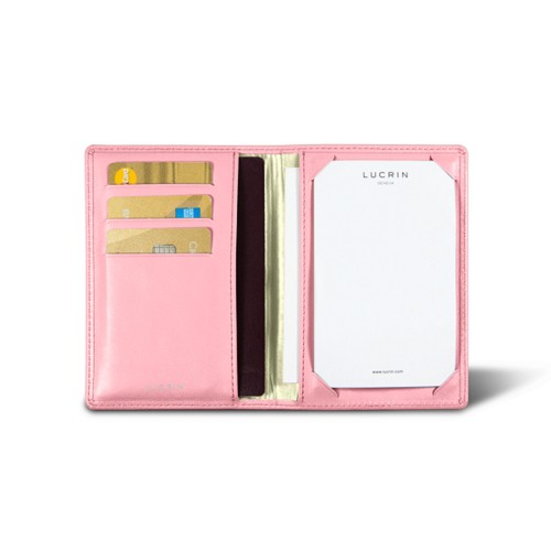 Luxury pocket note pad - Pink - Smooth Leather