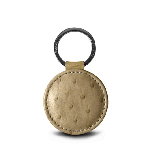Round Key Ring (2 inches) - Beige - Real Ostrich Leather